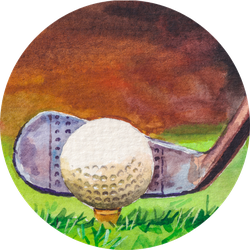 Golf Club And Ball On Green Grass Sport Game Sticker