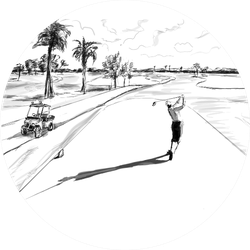 Golf Course Illustration Sketch Sticker