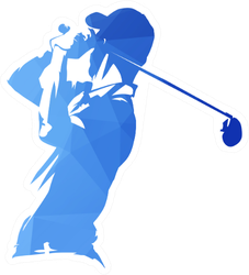 Golf Player, Abstract Blue Geometric Silhouette Sticker