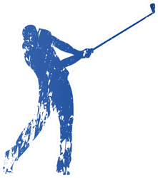 Golf Player, Abstract Grungy Vector Silhouette Sticker