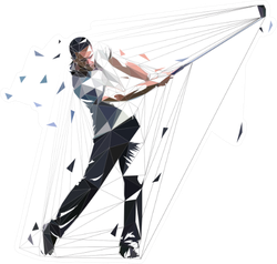 Golf Player, Low Polygonal Golfer, Golf Swing Sticker