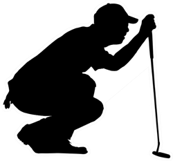 Golfer Kneeling Judging Putting Angle Sticker