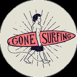 Gone Surfing Surfer Sticker