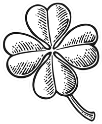 Good Luck Four Leaf Clover Engraving Sticker