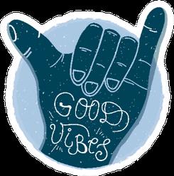 Good Vibes Lettering, Blue Shaka Surf Hand Sticker