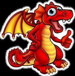 Goofy Red Dragon Sticker