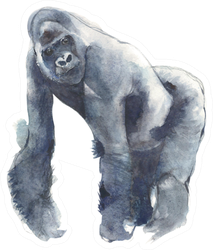 Gorilla Ape Watercolor Painting Illustration Sticker