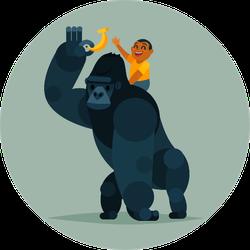 Gorilla Gives A Banana To The Boy Sticker