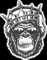 Gorilla Head In Crown And Glasses Sticker