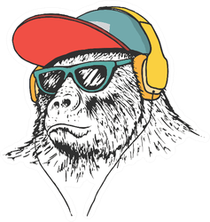 Gorilla Listening Music In Headphones Sticker