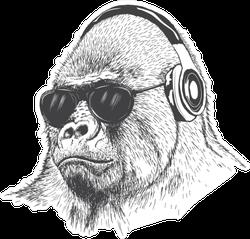 Gorilla Music Fan Hand Drawn Sticker