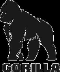 Gorilla Silhouette Sticker with Text
