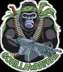 Gorilla With Bandana, Cigar, Holding Machine Gun Sticker