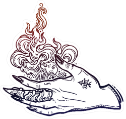 Gothic Witch Hand Holding Fire Sticker