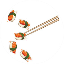 Grabbing Sushi With Chopsticks Sticker