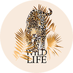 Graceful Cheetah And Gold Fan Palm, Wild Free Lettering Sticker