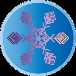Gradient Snowflake Design In Circle Sticker