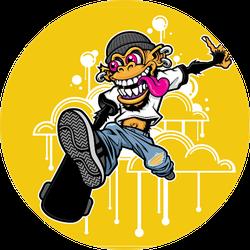 Graffiti Style Skateboarding Monkey Sticker