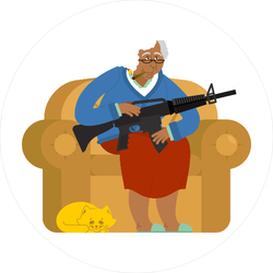 Grandma On Couch with a Rifle Sticker