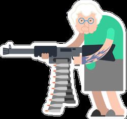 Grandma with Heavy Machine Gun Weapon Sticker