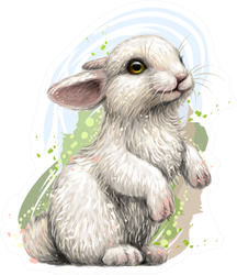 Graphic Image Of A Rabbit Sticker