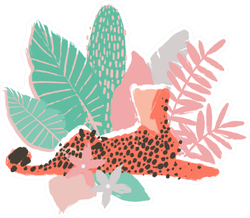 Graphic Lying Cheetah Surrounded By Exotic Plants Sticker