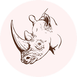 Graphical Rhino Vintage Sketch Sticker