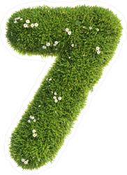 Grass and Flowers Font Number 7 Sticker