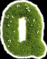Grass Font Letter Q Sticker