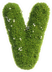Grass Font Letter V Sticker