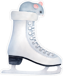 Gray Mouse Inside Ice Skate Sticker
