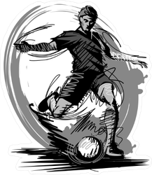 Grayscale Soccer Player Kicking Ball Sticker