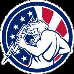 Greek God Zeus With USA Background Sticker