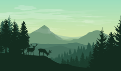 Green Atmospheric Mountain Landscape With Deers Sticker