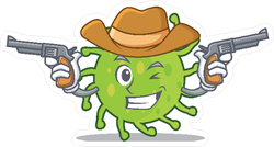 Green Bacteria Cowboy Sticker