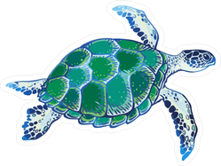 Green & Blue Watercolor Sea Turtle Sticker