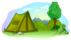 Green Campsite Sticker