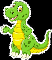 Green Cartoon Dinosaur Sticker