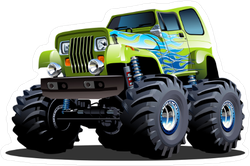 Green Cartoon Monster Truck Sticker