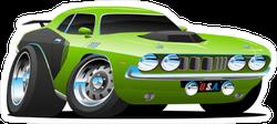 Green Cartoon Muscle Car Sticker