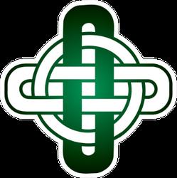 Green Celtic Knot Design On White Sticker