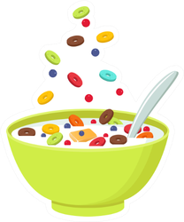 Green Cereal Bowl With Milk Sticker