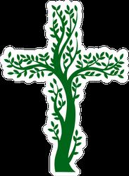 Green Christian Cross Tree Sticker