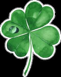 Green Clover Leaf Watercolor Illustration Sticker