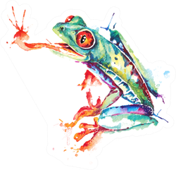 Green Frog Illustration Painted With Watercolor Sticker