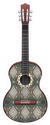 Green Guitar Decorated With Ethnic Ornaments Sticker