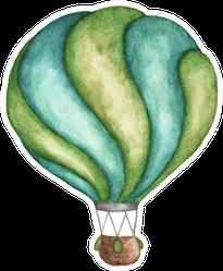 Green Hot Air Balloon Watercolor Sticker