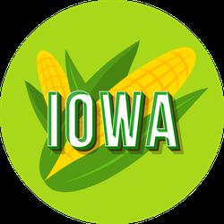 Green Iowa Corn And Lettering Sticker