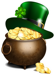 Green Leprechaun Hat On Pot Of Gold Sticker