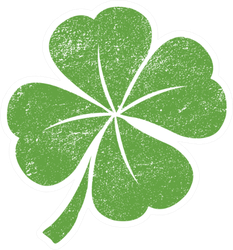 Green Lucky Four Leaf Irish Clover For St. Patrick's Day Sticker
